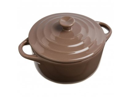 Keramické nádobí, keramický hrnec pro zapékání, nádobí pro dezertů, žáruvzdorné nádobí, nádobí pro servírování dipů -  O 10 cm, hnědá barva, 200 ml