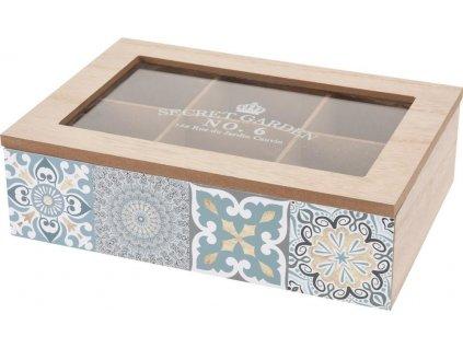 Dřevěná krabička na čaj, 6 přihrádek, SECRET GARDEN
