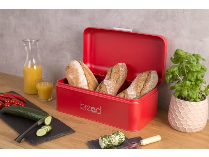 Kovový kontejner na chleba - barva červená