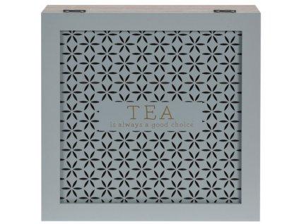 Dřevěná krabička na čaj - 9 přihrádek, mátná barva