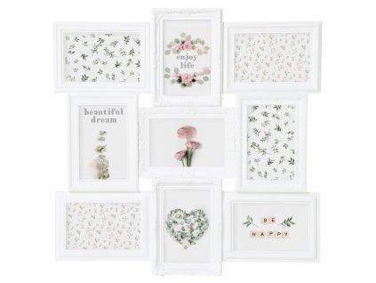 Bílý fotorámeček na 9 fotek ROMANCE,  fotorámeček, rámeček na fotky 50x50x2 cm