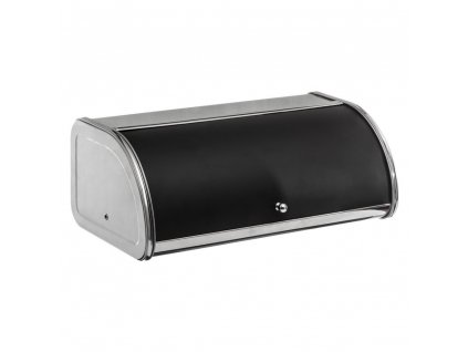 Kovový chlebník, box na pečivo, kontejner na chleba, chlebovka - barva černá, nerezová ocel