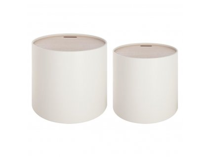 Organizér, box, kulatý box, nádoba, stolek  WHITE, 2v1 - 2 ks, barva bílá