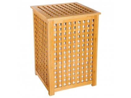 Koš na prádlo, bambusový koš, koš na oděvy, kontejner, obdélníkový koš, světle hnědá barva, BAMBOU