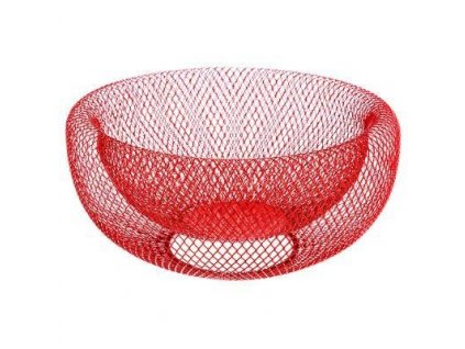 Kovový červený košík pro ovoce, 27x14 cm