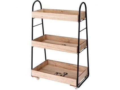 Dřevěný regál  na kolečkách - barový, 3 patra