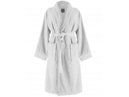Župan s kapsami, na zavazování v pase, 100% bavlna - bílá barva, Essenza - M