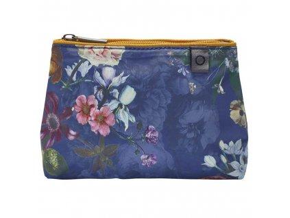 Cestovní sáček na kosmetiku s květinovým vzorem, tmave modrá barva