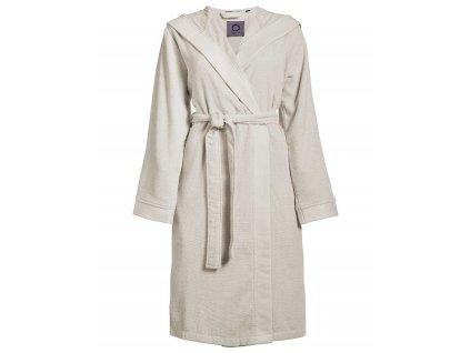 Dámský župan s kapsami, na zavazování v pase, 100% bavlna frotte, krémová barva - Essenza - L