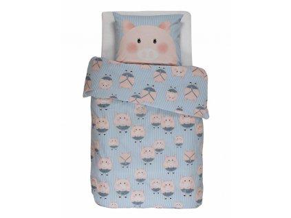 Barevné bavlněné povlečení na postel pro děti,  povlečení na jednolůžko, obrázkové povlečení, 100% bavlna - motiv prasátko , Covers & Co - 140x220+60x70
