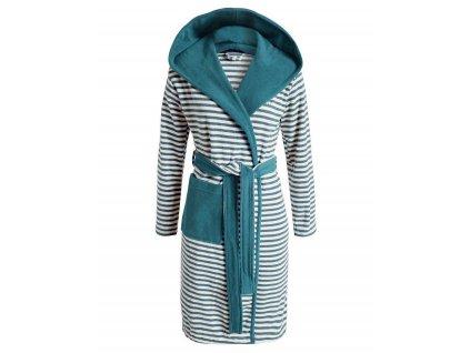 Župan s kapsami, modré pruhy, župan s kapucí, kabát po koupeli, 100% bavlněné froté, Esprit - S