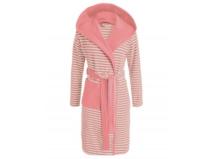 Dámská župan s kapsami, růžové pruhy, župan s kapucí, kabát po koupeli, 100% bavlněné froté, Esprit - S