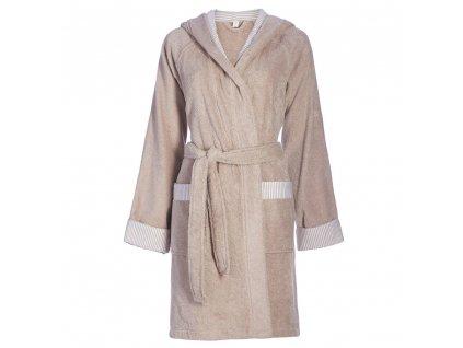 Dámská župan s kapsami, na zavazování v pase, 100% bavlna, béžová barva, Esprit - XL