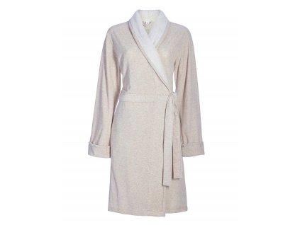 Dámská župan s kapsami, na zavazování v pase, 100% bavlna, barva ecru, Esprit - L