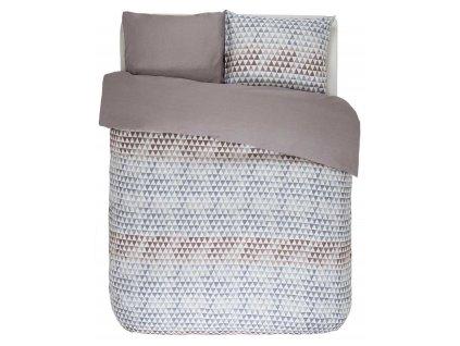 Bavlněná sada povlečení na dvojlůžko, postel v geometrickém vzoru, hnědo-šedá barva, 100% bavlněné plátno - barevné povleceni, barevný design, Esprit, 200 x 220 cm -  200x220+2/60x70
