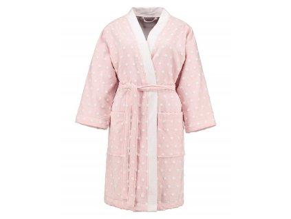 Dámská župan s kapsami, na zavazování v pase, 100% bavlna, pastelová růžová barva, Esprit - M