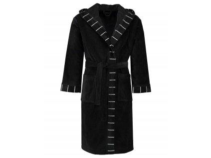 Pánský nebo dámský župan s kapsami a s kapucí, kabát po koupeli, 100% bavlněné froté - černá barva, Esprit - L