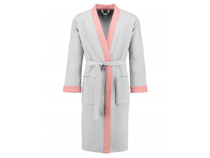 Dámský župan s kapsami, na zavazování v pase, 100% bavlna - bílý s růžovými vložkami, Esprit - S