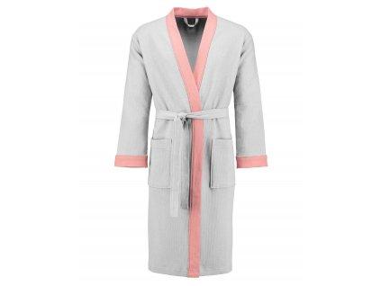 Dámský župan s kapsami, na zavazování v pase, 100% bavlna - bílý s růžovými vložkami, Esprit - XL