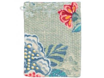 PiP Studio  ekskluzywne pościele Měkká žínka na mytí těla, doplněk do koupelny, 100% bavlněný velur  zelená barva, květinový motiv, PiP Studio