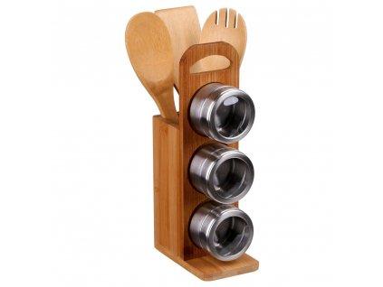 Multifunkční kuchyňský organizér se třemi magnetickými kořenkami a bambusovým náčiním