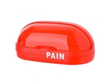 Průhledný chlebník z červeného odolného plastu, jednoduchý na udržbu čistoty