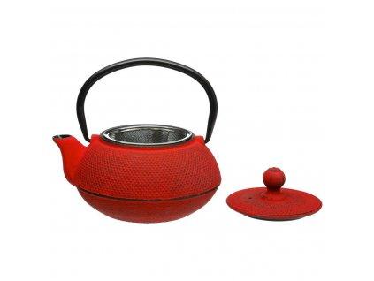 Čajová konvice, červená konvice v japonském stylu se ideálně hodí k spaření sušených bylinek