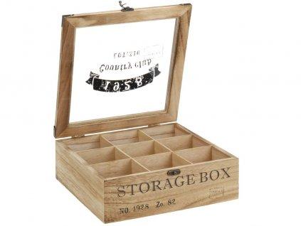 Dřevěná krabička na čaj COUNTRY CLUB 1928, 9 přihrádek