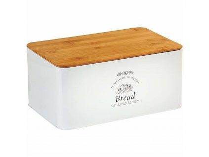 Moderní chlebovka s bambusovým prkénkem v bílé barvě, designový a praktický box na pečivo