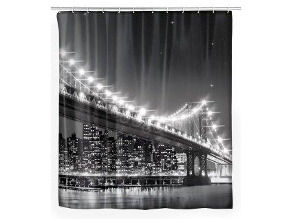Sprchový závěs se světly LED a potiskem Brooklynského mostu
