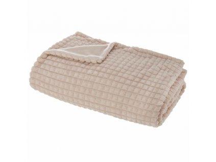 Béžová deka velikosti 125 x 150 cm, vyrobená z polyesteru, teplá a příjemná na dotek