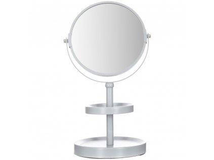 Bílé zrcadlo stojící s policemi, kulaté kosmetické zrcadlové zvětšení na jedné straně