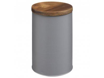 Plechovka s dřevěným víkem, praktická univerzální nádoba ve tvaru válce