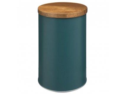 Ozdobná kovová nádoba s dřevěným víkem kovová v tmavě modré barvě, 10,3x30 cm