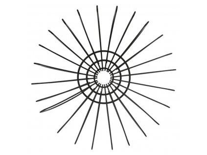 Kulatá mísa na ovoce z ohýbaného černého kovu ve tvaru trojrozměrných vloček BLACK METAL BASKET DOUBLE WIRE 35