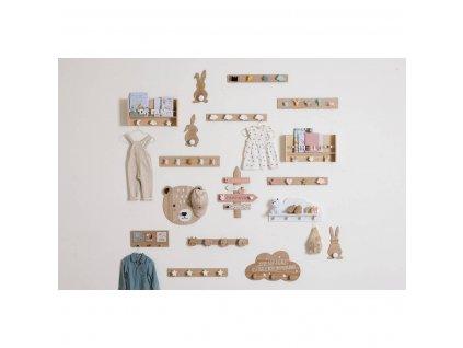 Dřevěný věšák pro dětské pokoje ve tvaru mraků, 27x50 cm