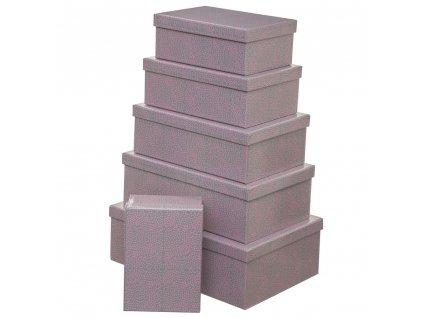 Sada šesti kartonových krabic různých rozměrů, šedo-růžové úložné krabice s víkem