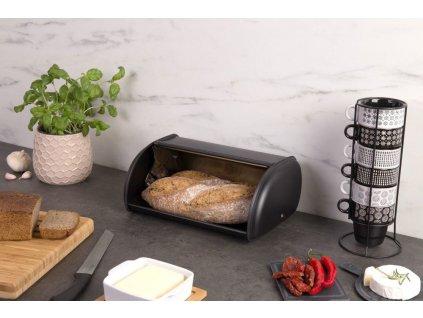 Moderní černý chlebník s potiskem