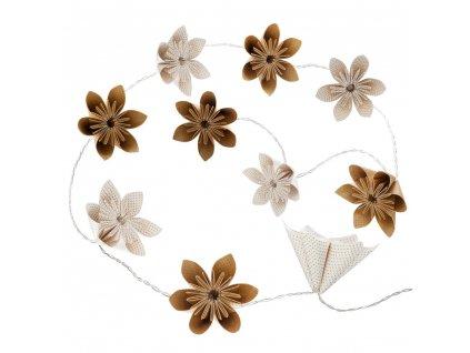Dekorativní LED osvětlení - řetěz 10 květů z papíru ve zlaté barvě, na baterii