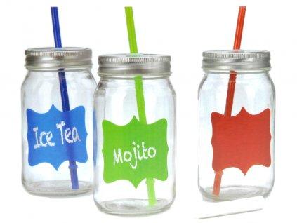 3x sklenice na nápoje + slámka - sada na grilování, piknik, pláž