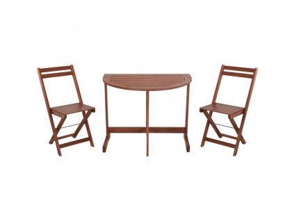 Sada zahradního nábytku z akátového dřeva, polohovatelný skládací stůl se dvěma židlemi
