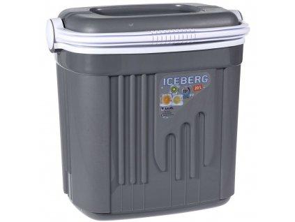 Šedá turistická lednice s kapacitou 20 litrů, přenosná lednička na piknik nebo delší výlet