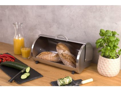 Chlebník, nádoba na pečivo z oceli a skla, s protiskluzovými nožkami