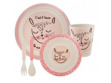 Sada nádobí pro děti - růžová barva, 5 prvků