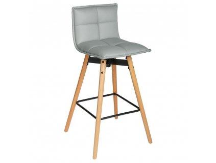 Barová stolička, vyvýšená židle, měkké sedadlo, výška: 96 cm, šedá