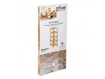 Bambusová knihovna, jednoduchý a elegantní kus nábytku s pěti úložnými policemi