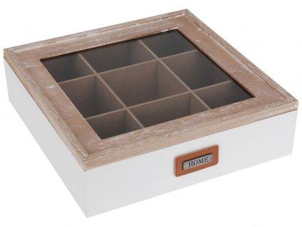 Dřevěná krabička na čaj HOME - 9 přihrádek, bílá