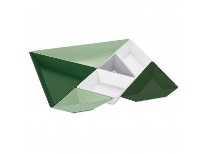Sada mísy TANGRAM READY bavlna bílá/měkká šedá/eukalyptová zelená/lesní zelená
