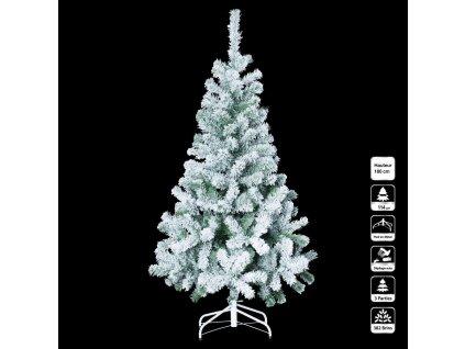 Bílý vánoční stromek na stojanu, efekt sněhu, 180 cm