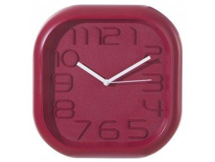 Čtvercové nástěnné hodiny závěsné nástěnné hodiny 3D efekt 30 x 30 cm červená